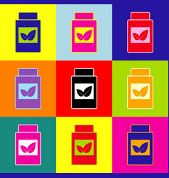 Supplements container sign pop-art style vector
