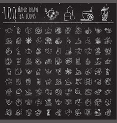 Tea hand draw icon set - cup bag kettle with vector