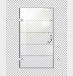 Transparent door on grey checkered background vector