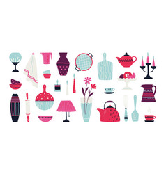 Trendy household hand drawn crockery pottery and vector