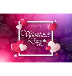 valentine day discount offer poster template sale vector image
