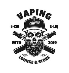 vaping emblem with bearded skull in cap vector image
