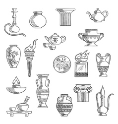 Various containers and kitchenware sketches vector