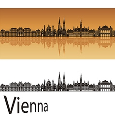 Vienna skyline in orange vector image