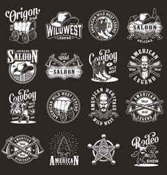 vintage monochrome wild west labels set vector image