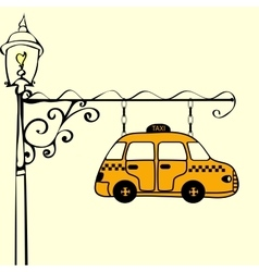 Vintage sign taxi vector