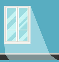 White plastic window on blue wall vector