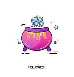 Witch cauldron icon halloween sticker vector