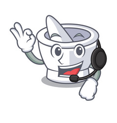 With headphone mortar mascot cartoon style vector