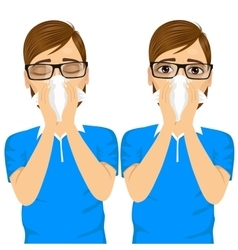 Young sick man ill suffering allergy vector