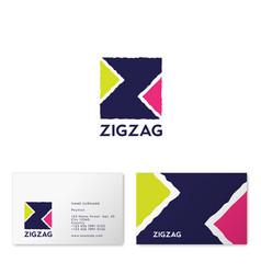 z letter zigzag logo ribbon web vector image
