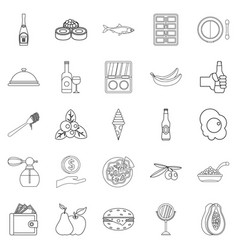 restaurant icons set outline style vector image