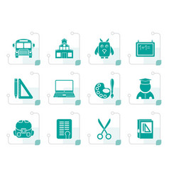 stylized school and education objects vector image
