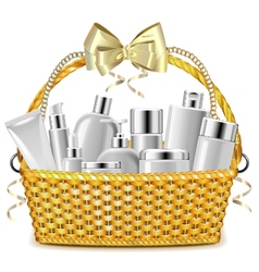 Wicker Basket with Cosmetics vector image