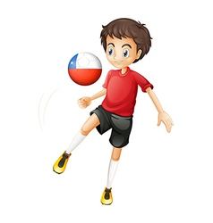 A boy using the ball from Chile vector image vector image