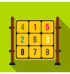 Cubes with numbers on a playground flat icon vector image
