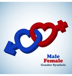 Male and female 3D gender symbols vector image