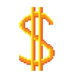 Sign pixel dollar gold 208 vector image vector image