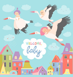 storks with babies vector image