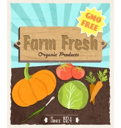 Vegetable retro poster vector image