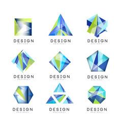 abstract logo design set crystal gem geometric vector image