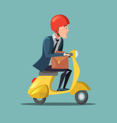 businessman riding on a scooter rush to work vector image vector image