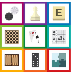flat icon play set of dice jigsaw chequer and vector image vector image