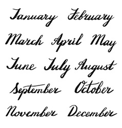 Handwritten months of the year vector image