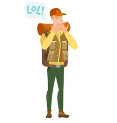 young caucasian traveler laughing out loud vector image vector image