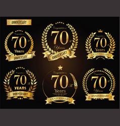 anniversary golden laurel wreath 70 years vector image vector image