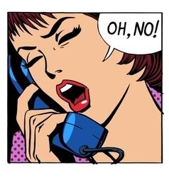 Oh no emotional talk women phone vector image vector image