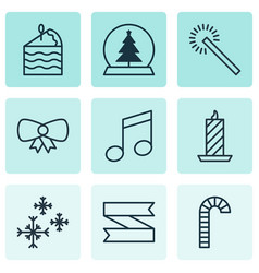 set of 9 new year icons includes lollipop fire vector image vector image