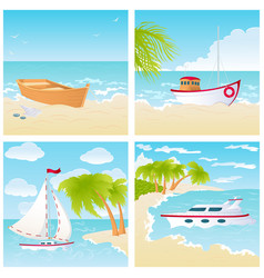 set with boats on the beach vector image