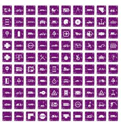 100 location icons set grunge purple vector