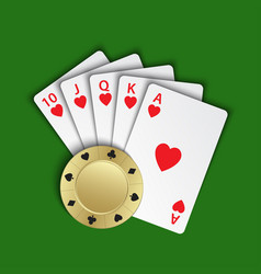 A royal flush of hearts with gold poker chip on vector
