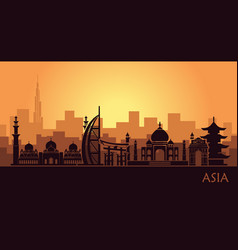 abstract urban landscape with landmarks of asia vector image