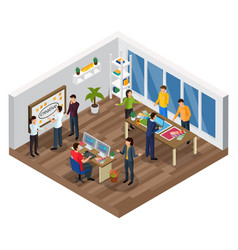 Advertising agency isometric composition vector
