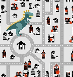Aggressive dinosaur destroys urban building vector image