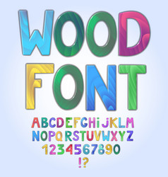 awesome wooden colored alphabet isolated on white vector image