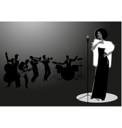Beautiful and elegant jazz singer singing solo vector