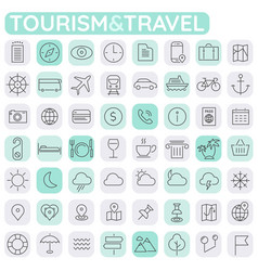 big tourism icon set trendy line icons collection vector image