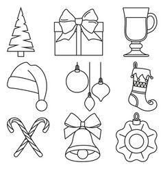 black and white line art christmas elements vector image