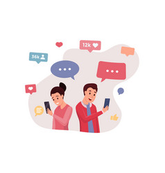 boy and girl communicate via internet app vector image