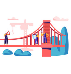 builder engineer build bridge with construction vector image