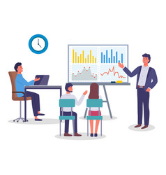 Businessman show presentation with graph chart vector