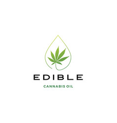 cannabis oil edible logo icon vector image