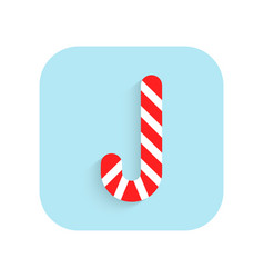 Caramel cane christmas flat icon and vector