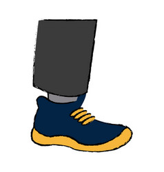 Cartoon leg feet wear blue and yellow shoe vector