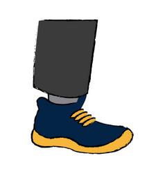 Cartoon leg feet wear blue and yellow shoe vector