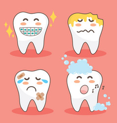 character happy and funny teeth set vector image